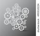 cogs. paper cut gears on grey... | Shutterstock . vector #490310224