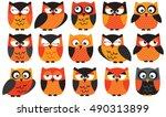halloween owls orange | Shutterstock .eps vector #490313899