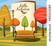 hello autumn  park  landscape ...   Shutterstock .eps vector #490314289