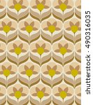 sixties flower wallpaper | Shutterstock .eps vector #490316035