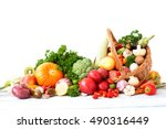 vegetables on a wooden table.... | Shutterstock . vector #490316449