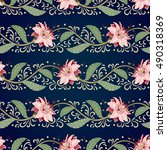 seamless vector floral vintage...   Shutterstock .eps vector #490318369