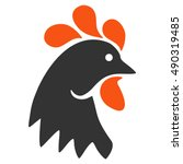 Rooster Head Icon. Vector Styl...