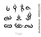 set with various poses of yoga. ... | Shutterstock .eps vector #490321195