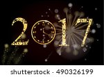 vector 2017 with gold clock. | Shutterstock .eps vector #490326199