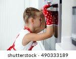 girl child in gloves waiting... | Shutterstock . vector #490333189
