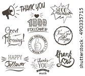 set of vintage thank you badges ... | Shutterstock .eps vector #490335715
