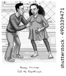 a pregnant woman tells her... | Shutterstock . vector #490339471