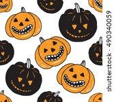 halloween seamless pattern with ...   Shutterstock .eps vector #490340059