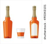 bottle and glass of rum in flat ... | Shutterstock .eps vector #490343101