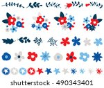 independence day flowers | Shutterstock .eps vector #490343401