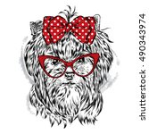 cute yorkshire terrier with bow ... | Shutterstock .eps vector #490343974