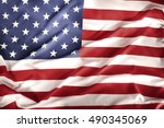 closeup of rippled american flag | Shutterstock . vector #490345069