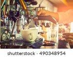 Professional coffee machine making espresso in a cafe - stock photo