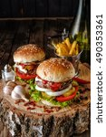 two burgers with mushrooms ... | Shutterstock . vector #490353361