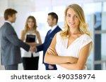 blonde businesswoman looking at ...   Shutterstock . vector #490358974