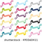 set of multicolored ribbons... | Shutterstock .eps vector #490360411