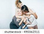 three female friends posing in... | Shutterstock . vector #490362511