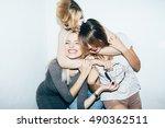 three female friends posing in... | Shutterstock . vector #490362511
