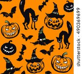 halloween seamless pattern.... | Shutterstock .eps vector #490369699