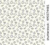 vector seamless pattern with... | Shutterstock .eps vector #490374481