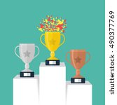 gold  silver and bronze trophy... | Shutterstock .eps vector #490377769