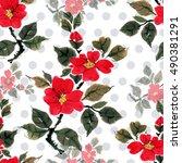 seamless floral pattern... | Shutterstock . vector #490381291