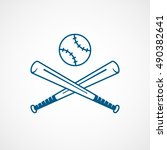 baseball bat cross blue line... | Shutterstock .eps vector #490382641