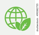 globe planet plant leaf sprout  ... | Shutterstock .eps vector #490382755