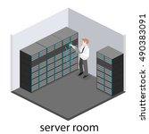 isometric interior of server... | Shutterstock . vector #490383091