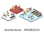 isometric interior of gym.... | Shutterstock . vector #490383214