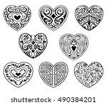 vector set of decorative hearts ... | Shutterstock .eps vector #490384201