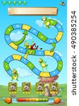 game template with frogs in... | Shutterstock .eps vector #490385254