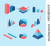 isometric flat 3d infographic... | Shutterstock . vector #490385419