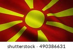 realistic flag of macedonia... | Shutterstock . vector #490386631