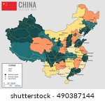 china map with provinces. all...   Shutterstock .eps vector #490387144