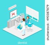 isometric dentist office during ... | Shutterstock . vector #490387879