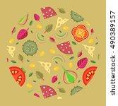 vector background of pizza... | Shutterstock .eps vector #490389157
