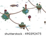 pattern sky air world. fairy... | Shutterstock .eps vector #490392475