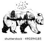 Vector Double exposure, Hand drawn bear for your design, wildlife concept | Shutterstock vector #490394185