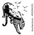 Vector Double exposure, Hand drawn leopard for your design, wildlife concept   Shutterstock vector #490394191