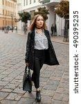 young beautiful woman in autumn ...   Shutterstock . vector #490395235