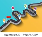 road trip and journey route.... | Shutterstock .eps vector #490397089