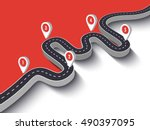 road trip and journey route.... | Shutterstock .eps vector #490397095