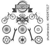 set of vintage old school bike... | Shutterstock .eps vector #490397317
