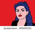 pop art brunette woman face in... | Shutterstock .eps vector #490405351