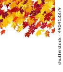 autumn background with maple... | Shutterstock .eps vector #490413379