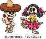 mexican dancing skeletons.... | Shutterstock .eps vector #490415131