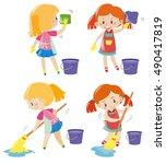 girl doing different kind of... | Shutterstock .eps vector #490417819