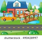 children standing on the bridge ... | Shutterstock .eps vector #490428997